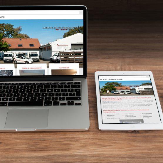 Abgebildet ist ein Screenshot der Referenz-Webseite Heigl und Kulig