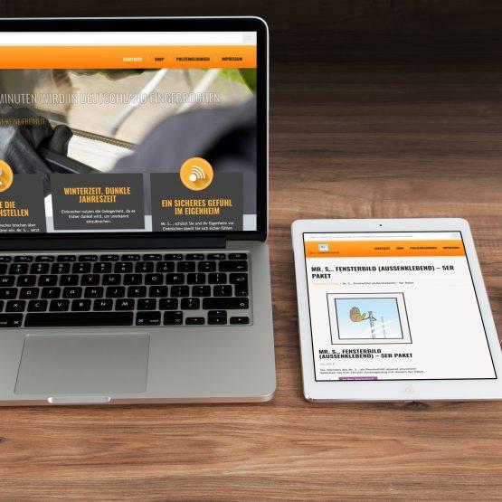 Abgebildet ist ein Screenshot der Referenz-Webseite Mr. S