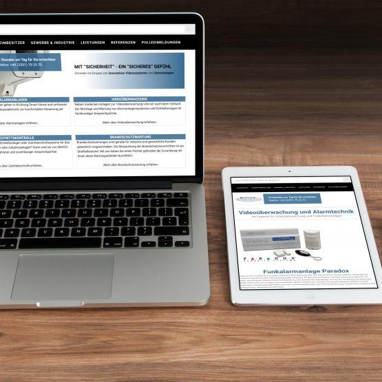 Abgebildet ist ein Screenshot der Referenz-Webseite Navco Sicherheitssysteme