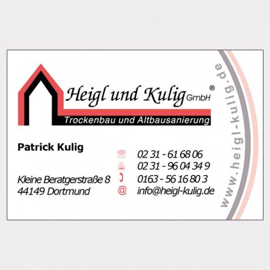 Abgebildet ist ein Screenshot der Referenz-Visitenkarte Heigl und Kulig