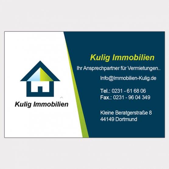 Abgebildet ist ein Screenshot der Referenz-Visitenkarte Kulig Immobilien