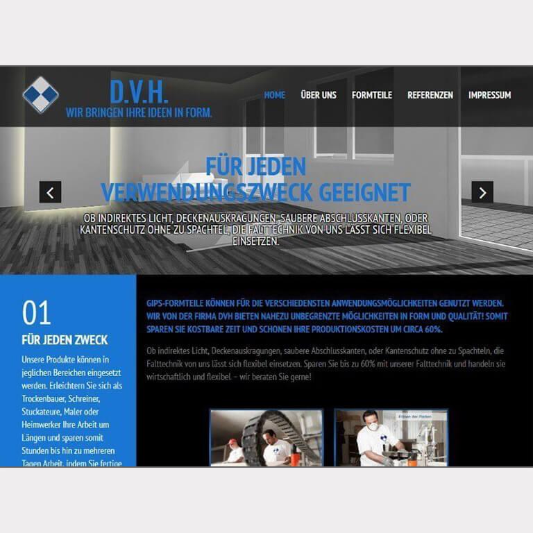Abgebildet ist ein Screenshot der Referenz-Webseite D.V.H.