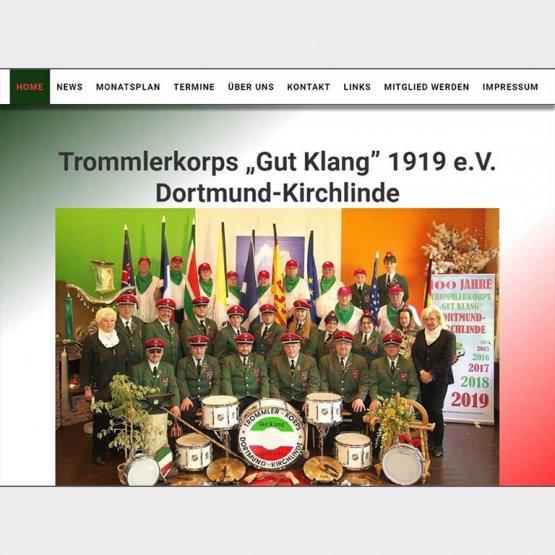 Abgebildet ist ein Screenshot der Referenz-Webseite Trommlerkorps Gut Klang