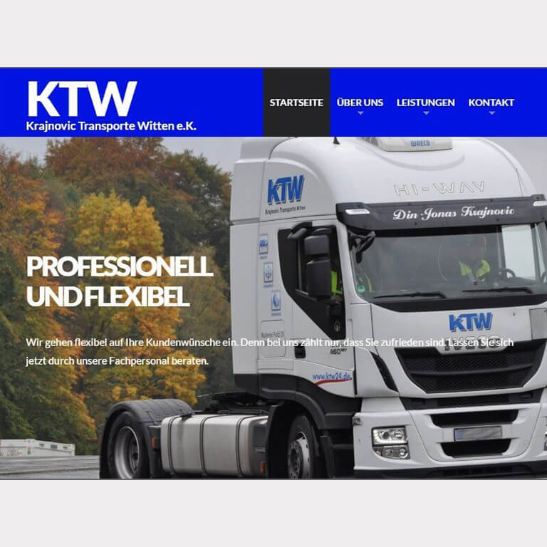 Abgebildet ist ein Screenshot der Referenz-Webseite KTW24