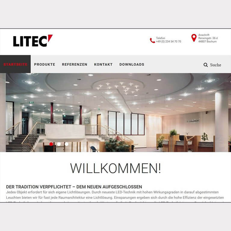 Abgebildet ist ein Screenshot der Referenz-Webseite Litec Leuchten