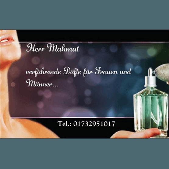 Abgebildet ist ein Screenshot der Referenz-Visitenkarte Parfüme Mahmut