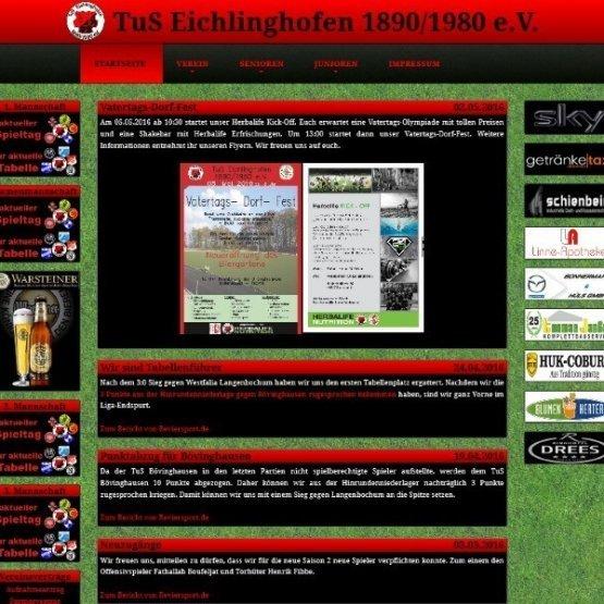 Abgebildet ist ein Screenshot der Referenz-Webseite TuS Eichlinghofen