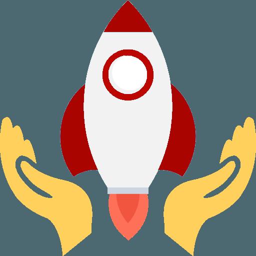 Abgebildet ist eine startende Rakete die Ihren Erfolg Ihrer Social Media Pflege darstellen soll.