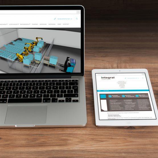 Abgebildet ist ein Screenshot der Referenz-Webseite Integral