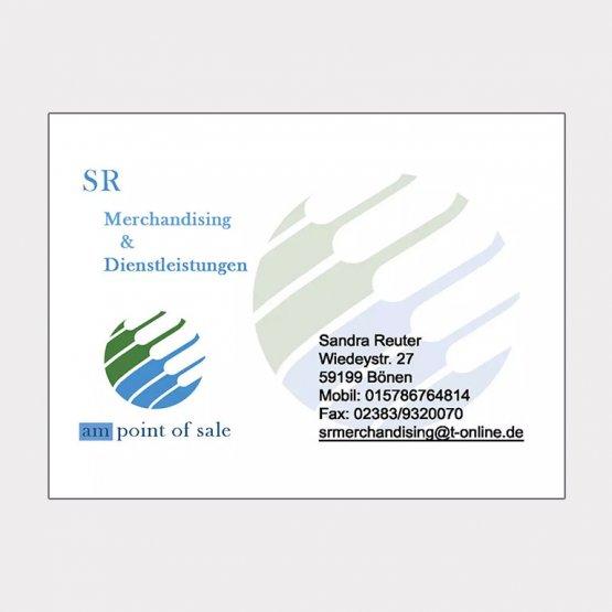 Abgebildet ist ein Screenshot der Referenz-Visitenkarte SR Merchandising & Dienstleistung