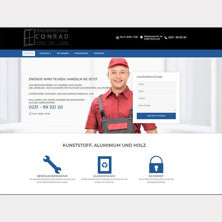 Abgebildet ist ein Screenshot der Referenz-Webseite Fenstertechnik Conrad