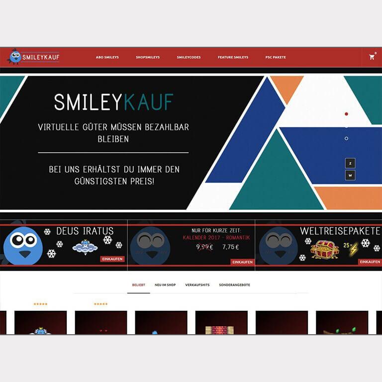 Abgebildet ist ein Screenshot der Referenz-Webseite Smileykauf