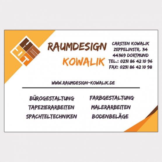 Abgebildet ist ein Screenshot der Referenz-Visitenkarte Raumdesign Kowalik