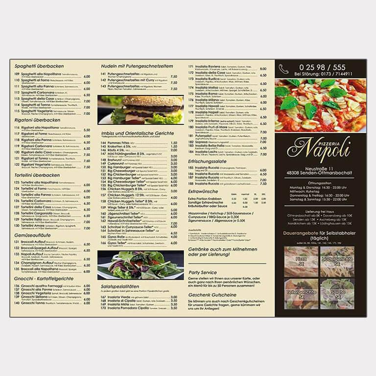 Abgebildet ist ein Screenshot der Referenz-Speisekarte Napoli