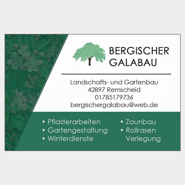 Abgebildet ist ein Screenshot der Referenz-Visitenkarte Bergischer Galabau