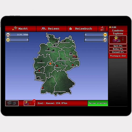 """Abgebildet ist ein Screenshot der Referenz-App """"Landreise"""""""