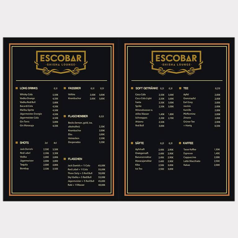Abgebildet ist ein Screenshot der Referenz-Getränkekarte Escobar