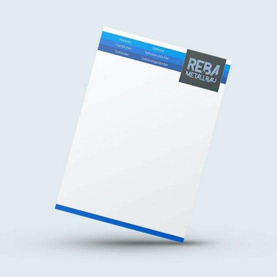 Abgebildet ist ein Screenshot des Referenz-Briefpapiers Reba Metallbau