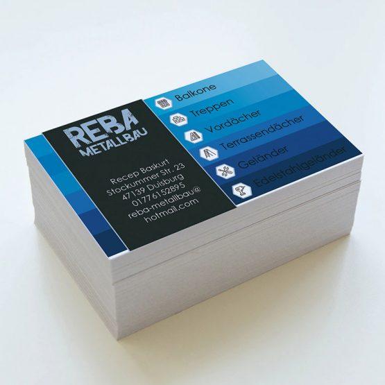 Abgebildet ist ein Screenshot der Referenz-Visitenkarte Reba Metallbau