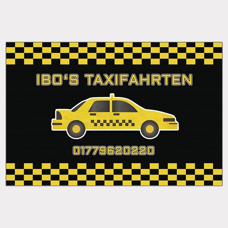 Abgebildet ist ein Screenshot der Referenz-Visitenkarte Ibo's Taxifahrten