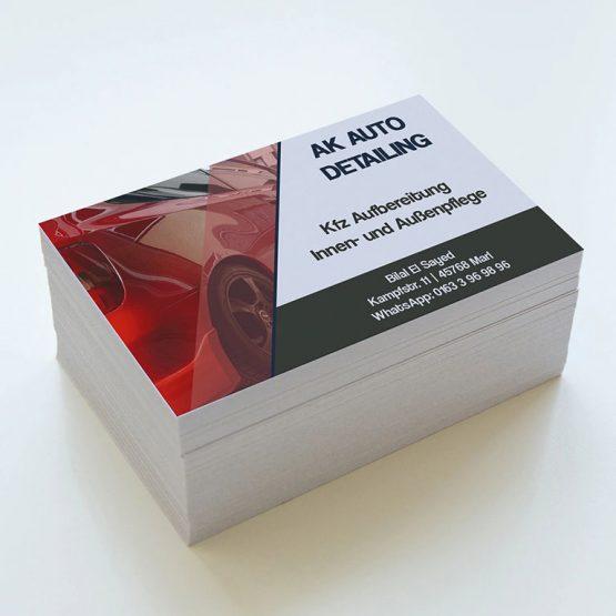 Abgebildet ist ein Screenshot der Referenz-Visitenkarte AK Auto Detailing