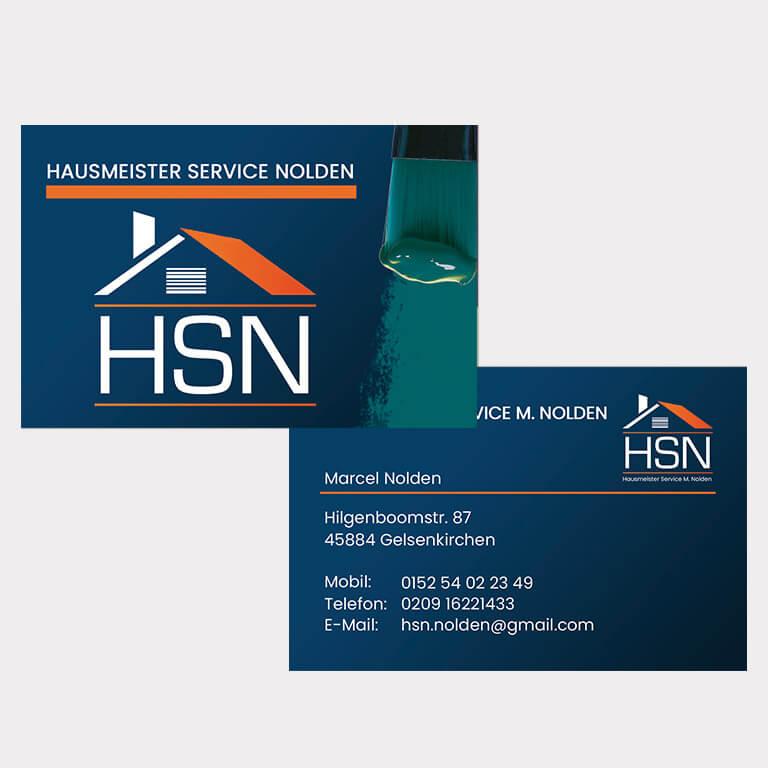 Abgebildet ist ein Screenshot der Referenz-Visitenkarte HSN