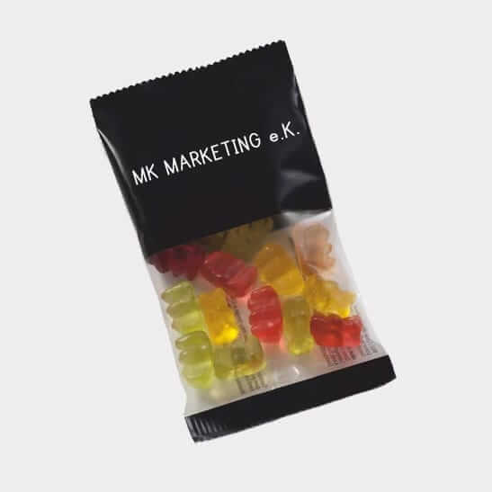 Abgebildet ist eines unserer Werbemittel in Form von Fruchtgummis
