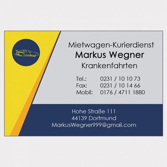 Abgebildet ist ein Screenshot der Referenz-Visitenkarte Mietwagen-Kurierdienst Wegner.