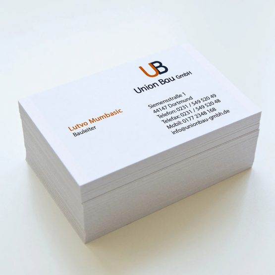 Abgebildet ist ein Screenshot der Referenz-Visitenkarte Union Bau GmbH