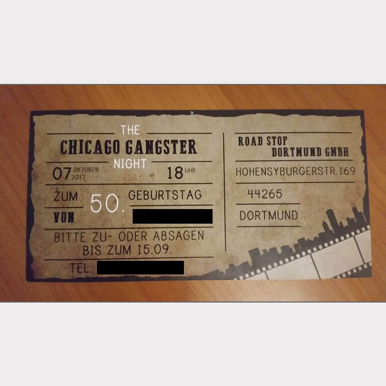 Abgebildet ist ein Screenshot der Referenz-Einladung The Chicago Gangster Night