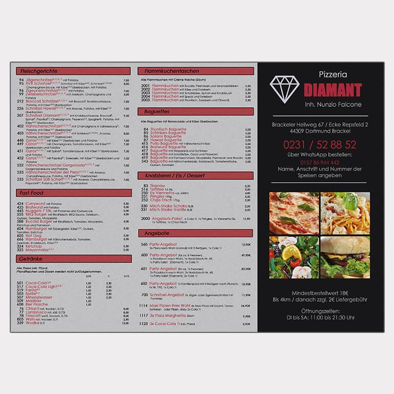Abgebildet ist ein Screenshot des Referenz-Flyers Pizzeria Diamant