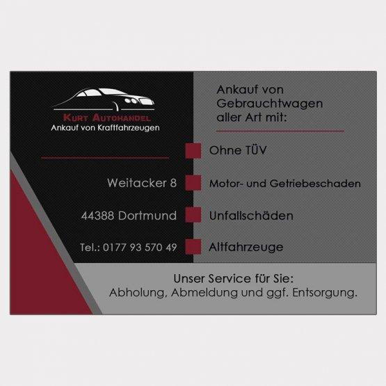 Abgebildet ist ein Screenshot der Referenz-Visitenkarte Kurt Autohandel