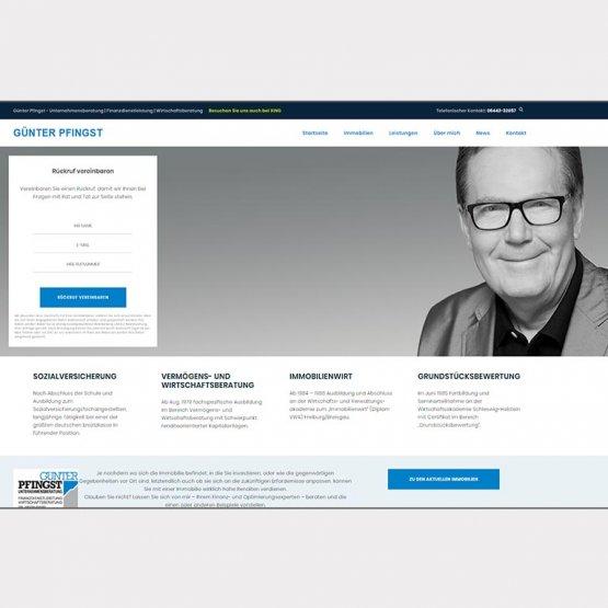 Abgebildet ist ein Screenshot der Referenz-Webseite Pfingst