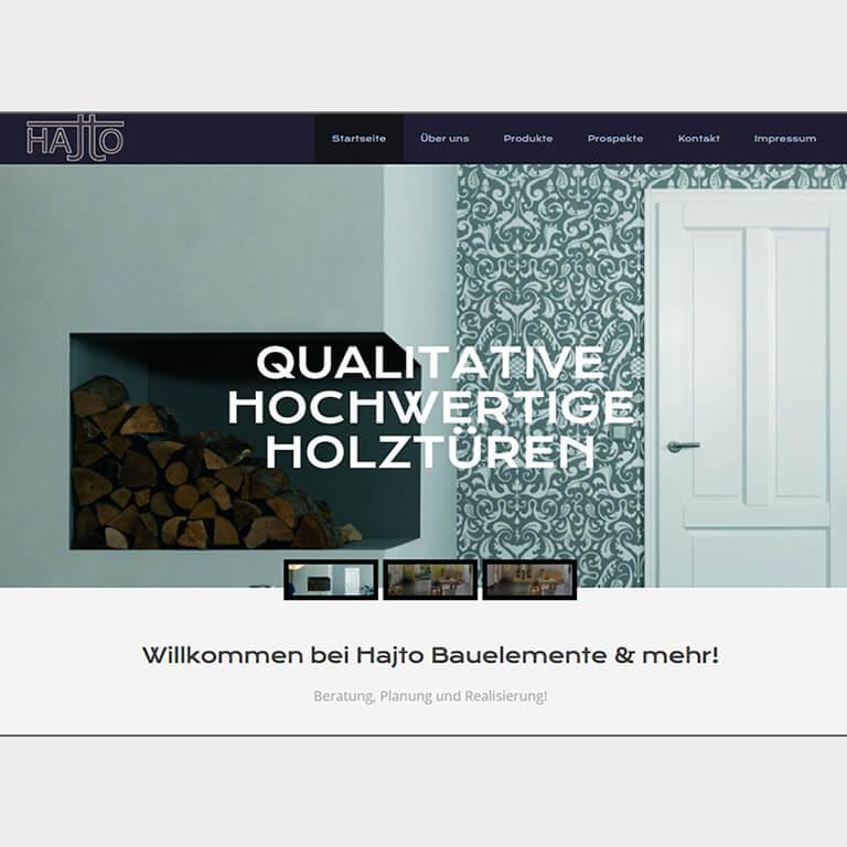 Abgebildet ist ein Screenshot der Referenz-Webseite Hajto Bauelemente & mehr