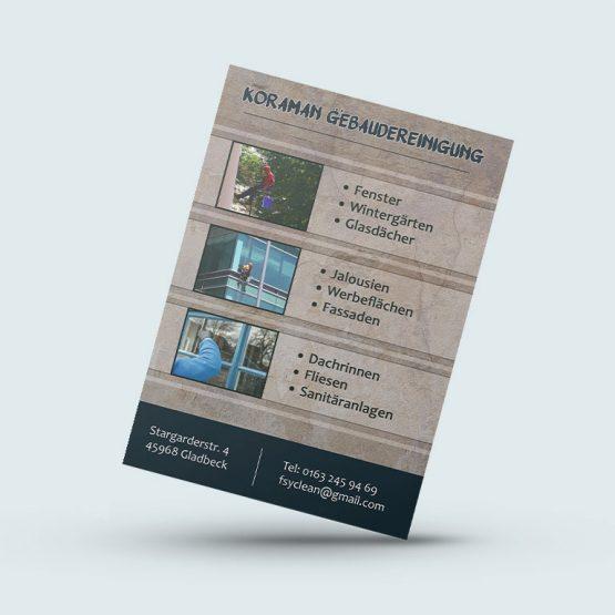 Abgebildet ist ein Screenshot des Referenz-Flyers Koraman Gebäudereinigung