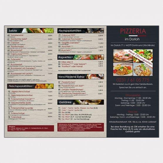 Abgebildet ist ein Screenshot des Referenz-Flyers Pizzeria im Dorloh