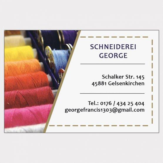 Abgebildet ist ein Screenshot der Referenz-Visitenkarte Schneiderei George