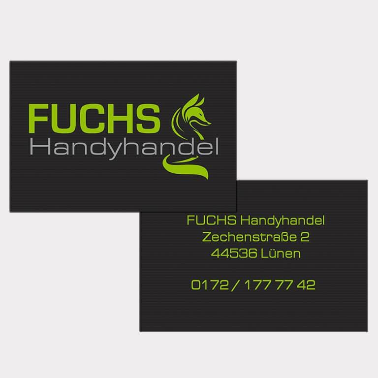 Abgebildet ist ein Screenshot der Referenz-Visitenkarte Fuchs Handyhandel