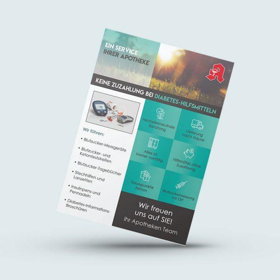 Abgebildet ist ein Screenshot des Referenz-Flyers für eine Apotheke