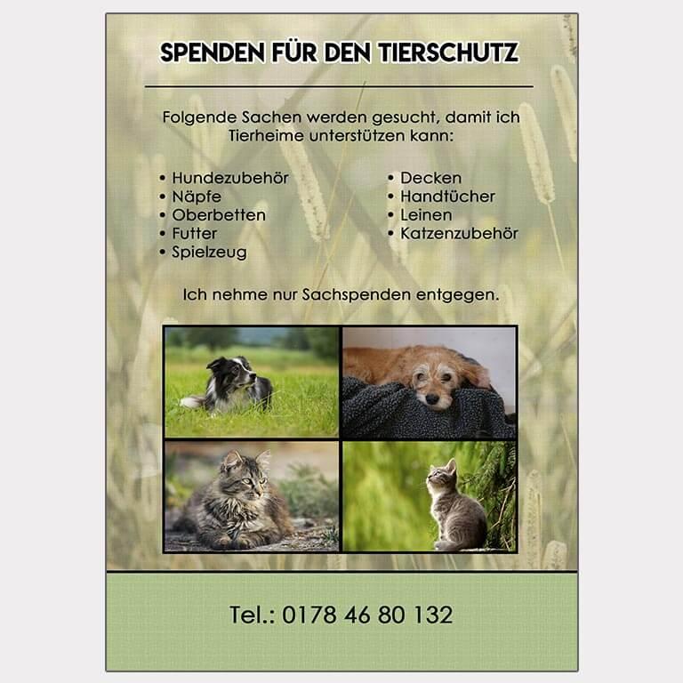 Abgebildet ist ein Screenshot des Referenz-Flyers Tierschutz