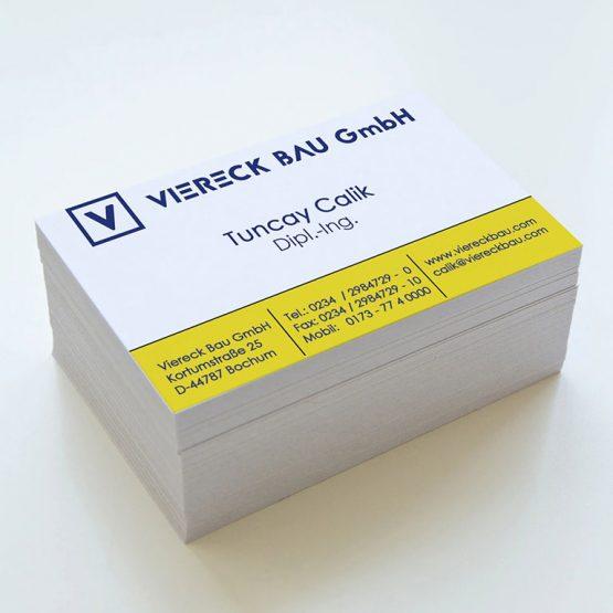 Abgebildet ist ein Screenshot der Referenz-Visitenkarte Viereck Bau GmbH