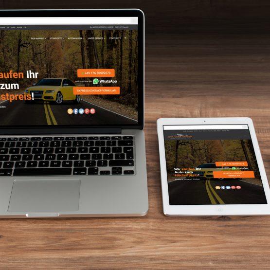 Abgebildet ist ein Screenshot der Referenz-Webseite Evan Kfz Handel