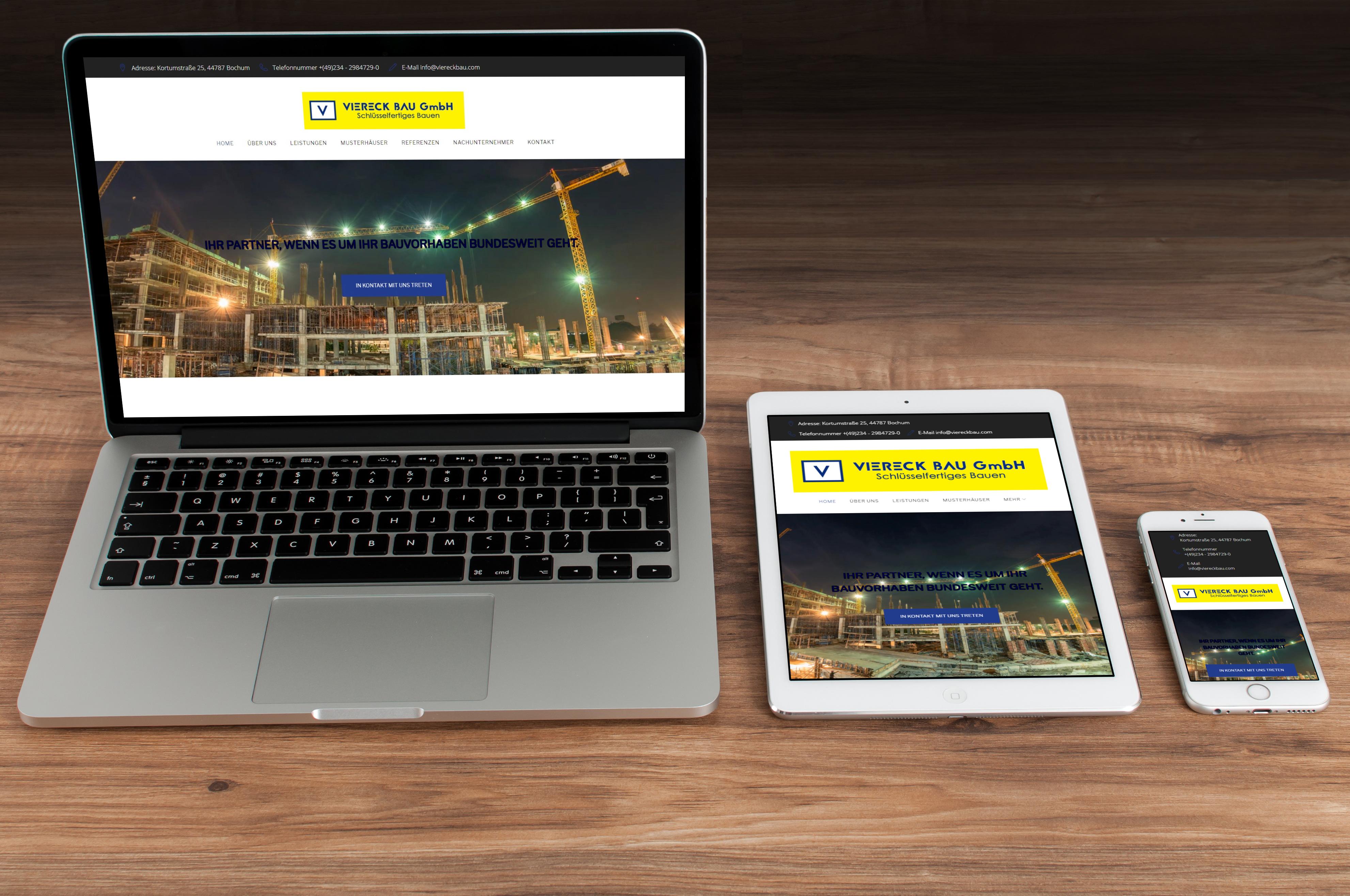 Abgebildet ist ein Screenshot der Referenz-Webseite Viereck Bau