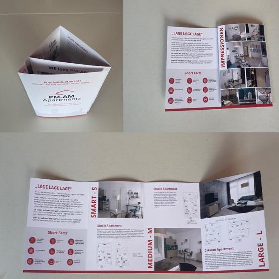 Bild zur Referenz der Herstellung von Faltblättern für die PM-AM Apartments GmbH